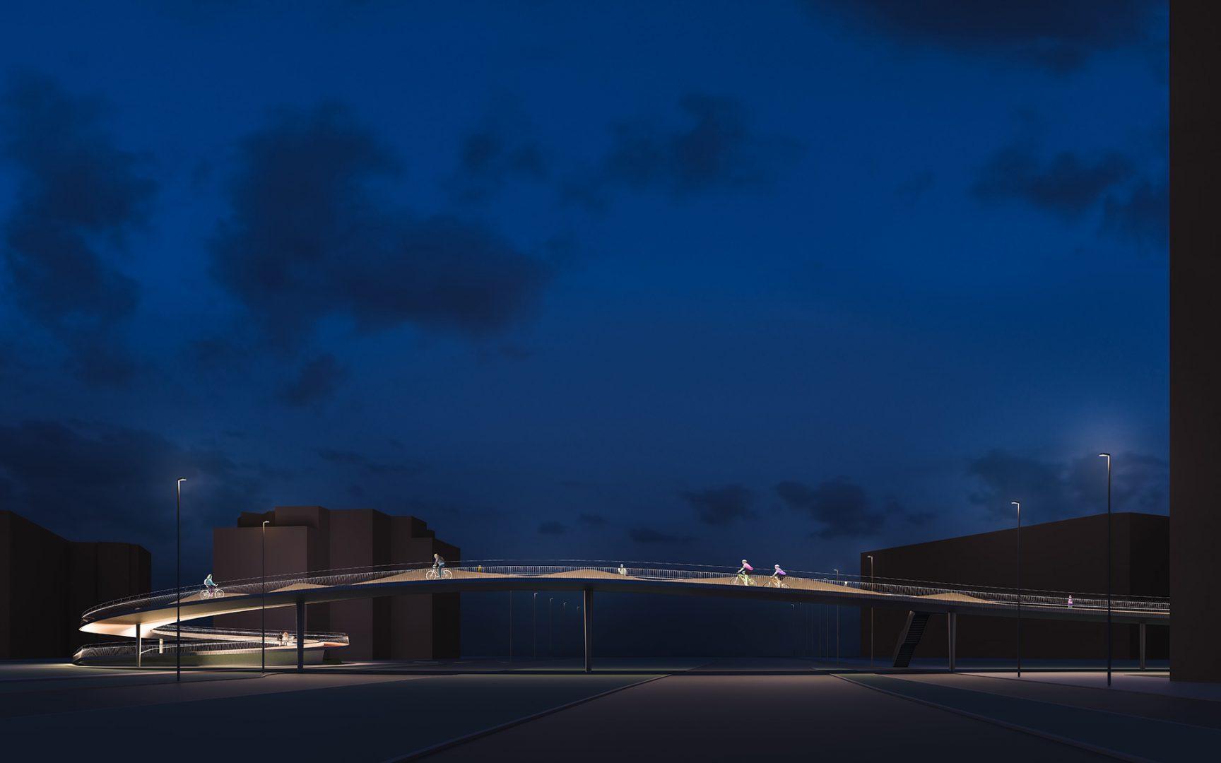 Kennedydamm bei Nacht, Düsseldorf | Sauerzapfe Architekten