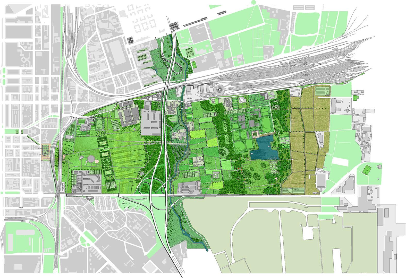 Parco Forlanini, Mailand, Lageplan | Sauerzapfe Architekten