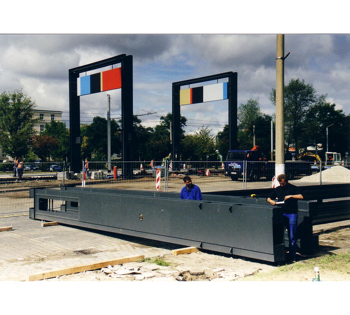 Stadtpergola Haupttorplatz, Leuna, Bau | Sauerzapfe Architekten